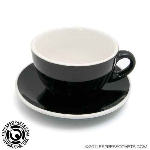Latte Cup & Saucer Black and White Cafe Style - Set of (Black Coffee Saucer)
