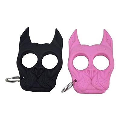 2 Pack Brutus the Bull Dog Self Defense Keychain Pink+Black