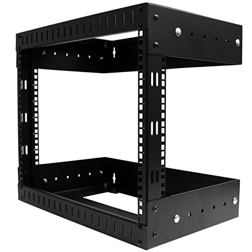 StarTech.com 8U Wall Mount Open Frame Rack - Adjustable Depth - Professional Grade - 2 Post - Network Equipment Rack for Server Room (RK812WALLOA) ()