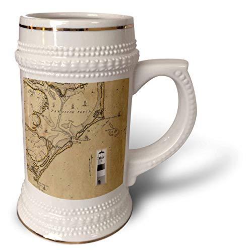 3dRose lens Art by Florene - Nautical Maps - Image of Vintage Nautical Map Cape Hatteras North Carolina - 22oz Stein Mug (stn_317557_1)