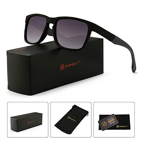 SUNGAIT Unisex Polarized Sunglasses Stylish Sun Glasses with Spring Hinges (Black Frame (Matte Finish) /Grey Gradient Lens) A529HKHU