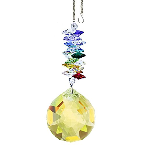(CrystalPlace Crystal Ornament 4.5 inch Suncatcher Light Topaz Faceted Ball Prism Rainbow Maker Crystal Cascade Made with Swarovski Crystals)
