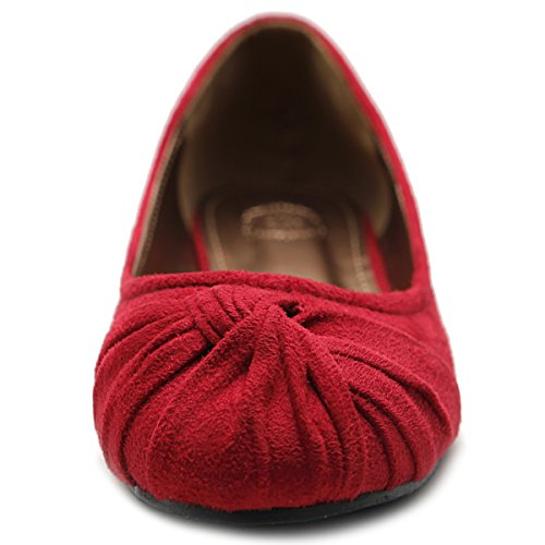 Ollio Womens Ballet shoe Low Heel Comfort Faux Suede Multi Color Flat Red x5VfqmyAHi