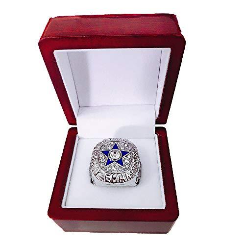 Gloral HIF Dallas Cowboys Championship Ring Super Bowl VI 1971 Ring sz 11 Roger Staubach Replica Rings with Display Wooden Box,Silver 1971 Dallas Cowboys Super Bowl