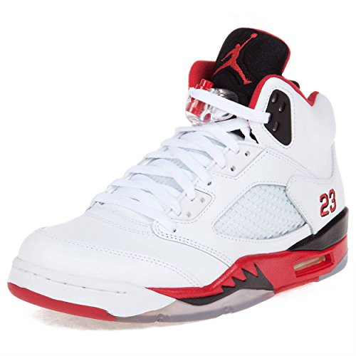 online store 61e7b fe6c0 Galleon - NIKE Mens Air Jordan 5 Retro Black Tongue White Fire Red Blk  Leather Basketball-shoes Size 12
