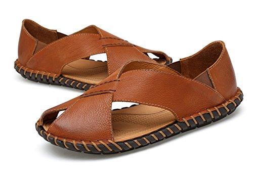 ICEGREY Herren Sandalen Trekking Pantoletten Freizeit Hausschuhe Sandalen Outdoor Sommer Strand Pantolette Schuhe Gelb Braun 42
