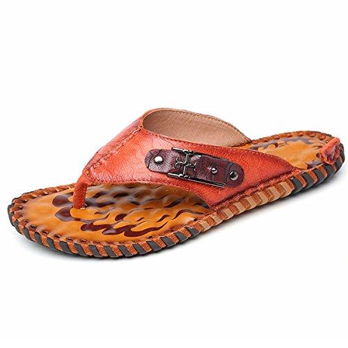 Pinuo 2016 Nya Sommarens Mode Manliga Tofflor Sandaler Casual Läder Tofflor För Män Ljus Brun