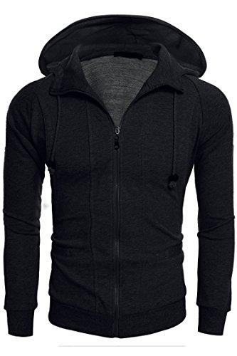 Coofandy Men's Long Sleeve Casual Active Jersey Best Hoodie Zip-Up (S, Dark - Fashion Indie Guys