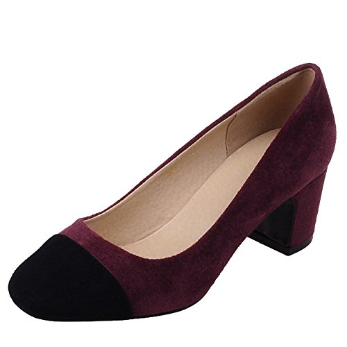 Carolbar Women's Assorted Color Charm Mid Heel Square Toe Court Shoes Wine Red V2XGbu