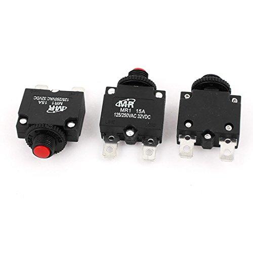 uxcell Air Compressor Overload Protector Circuit Breaker AC125V/250V 15A 3Pcs