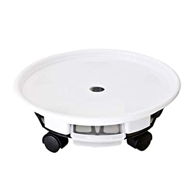 """16.3"""" White Plant Caddy Plant Stand Round Planter Trolly Heavy Duty Plant Tray Flower Pot Mover with Caster Wheels and a Water Container(1Pcs): Industrial & Scientific"""