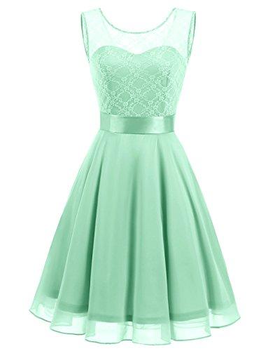 BeryLove Women's Short Floral Lace Bridesmaid Dress A-line Swing Party Dress (Wedding Shorts)