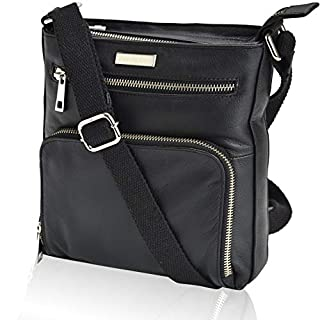 Sling-Bag for Women Genuine Leather - Black Multi Pocket Small Crossbody Bag, Handmade Spacious Shoulder Purse with Zippers and Mobile Holder