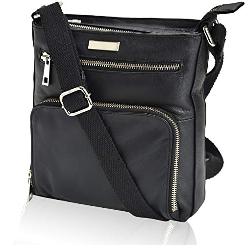 Over Black Leather - Leather Crossbody Purses and Handbags for Women-Premium Crossover Bag Over the Shoulder Womens