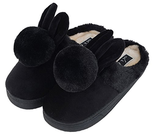 Closed House Bunny Blubi Slippers Slippers Cute Toe Plush Women's Cute Black Slippers qI0EO0w