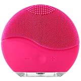 Mini Portable Rechargeable Waterproof Electric Silicone Facial Cleanser Beauty Machine Sonic Face Cleaning Washing Machine Massage Brush (Hot Pink/Pink)