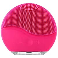 Mini Portable Rechargeable Waterproof Electric Silicone Facial Cleanser Beauty Machine Sonic Face Cleaning Washing Machine Massage Brush (Hot Pink)