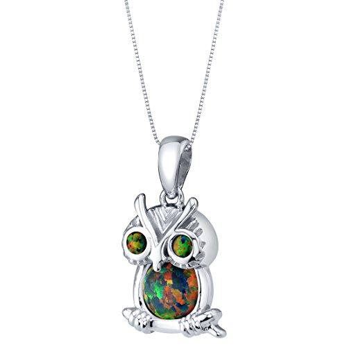 Sterling Silver Mini Owl Created Black Opal Pendant ()