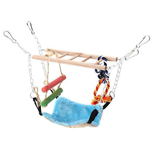 koulate Swing Bridge Hammock Bird Toys, 2 Layers Small Animal Hamster Bird Rope Step Ladder Toy Blue Squirrel Suspension…