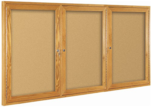 2 Door Wood Frame (Best-Rite Wood Trim Enclosed Bulletin Board Cabinet, 2 Hinged Door, 36