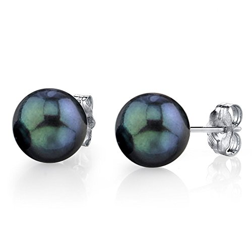 THE PEARL SOURCE 14K Gold AA+ Quality Round Black Akoya Cultured Pearl Stud Earrings for Women