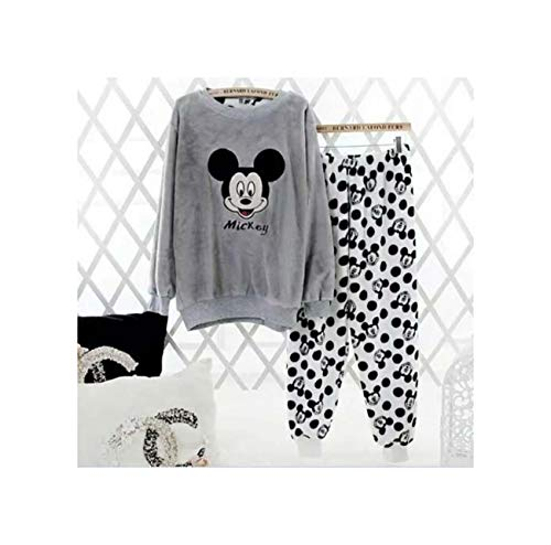 MADISON& Thicker Velvet Flannel Winter Pajamas for Women Warm Home Wear Leisure Clothes Gray L