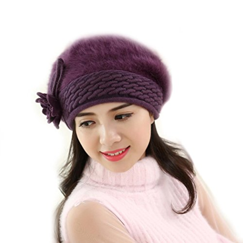 Price comparison product image Women Ladies Winter Knitting Hat Warm Artificial Wool Snow Ski Caps With Visor (S-Purple)
