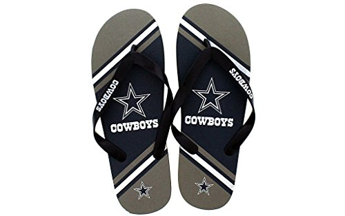 Forever Collectibles Happy Feet Mens and Womens Officially Licensed Big Logo Flip Flops Dallas Cowboys a3jZ0NLHX4