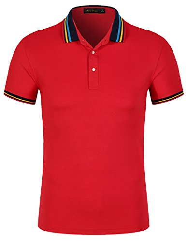 (Mitario Femiego Men Classic Rainbow Stripe Collar Slim Fit Short Sleeves Golf Polo Shirt Red L)