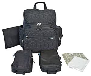 Terra Baby Diaper Bag Backpack Organizer with Stroller Straps and Changing Pad, Black