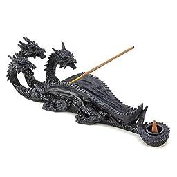 Bellaa Triple Head Mythical Dragon Figure Incense Stick Burner and Cone Burner