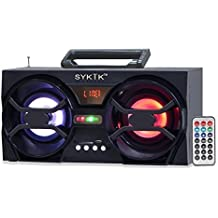 Sykik SP2091BT Bluetooth Boom Box with SD/MMC/USB, FM Radio, Built-in Rechargeable Battery & Remote Control