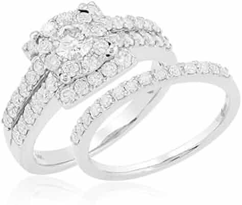 377b66eb4 Dazzlingrock Collection 1.00 Carat (ctw) 14K Round Diamond Cluster Fleur  Ladies Bridal Engagement Bridal