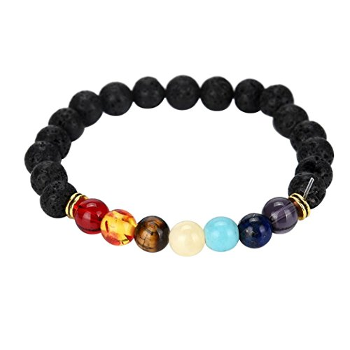 Fheaven 7 Colour Agate Chakra Healing Beaded Bracelet Natural Lava Stone Diffuser Bracelet Beads Jewelry (Black) -