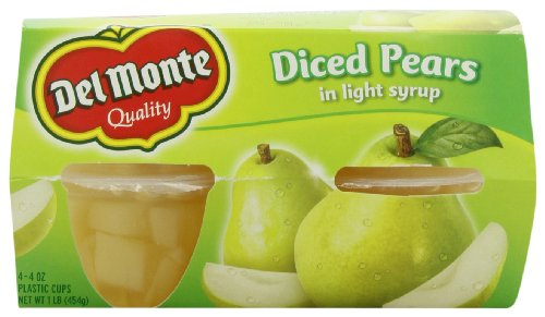 Del Monte Diced Pears Plastic Fruit Cups Made with Real Fruit Juice, 4.4-Ounce (Pack of 24) by Del Monte
