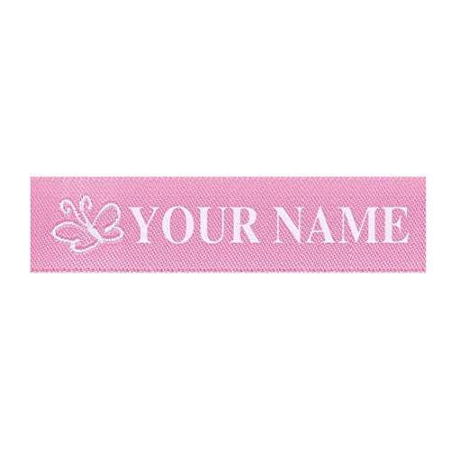 (Wunderlabel Standard Woven Label Women Girls Name Tag Aubrey Iron on Art Craft Ribbon Ribbons Decorative Tags on Clothes Clothing Garment Fabric Material Embroidered Labels Tags, White on Pink, 25 qty)