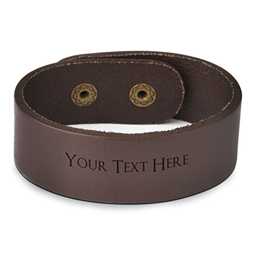 - Custom Engraved Fashion Personalized Genuine Leather Wristband Bracelets Cuff Unisex Gift - Brown