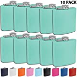 Clear Water Home Goods - 6 oz Powder Coated Stainless Steel Hip Flask - Wedding Party - Groomsman - Bridesmaid (Matte Teal, 10)