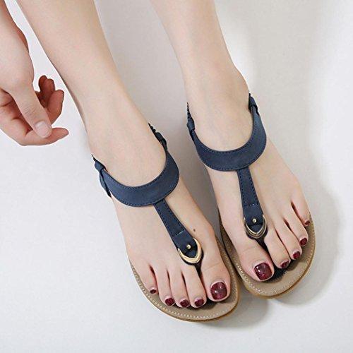 Challeng Sandales Plates Chaussures Escarpins Tamaris,Femmes Bohe Mode Appartement Grande Taille Décontractée des Sandales Plage Chaussures,Beige/Bleu/Rose/35/36/37/38/39/40/41/42Bohême B