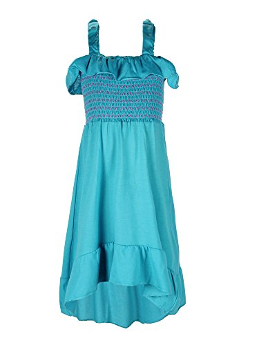 S.W.A.K. Girls Ruffle Smocked Sundress, Turq, Size - Girls Sundress Smocked