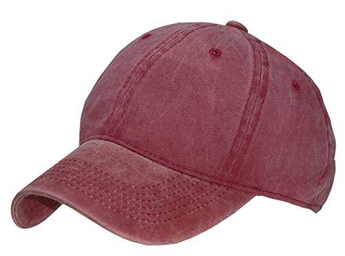 Kids Baseball-Hat Washed Solid - Sun Hat for Children (2-7yrs, Burgundy)