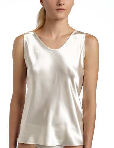 (Women's Satin Charmeuse Tailored Tanktop camisole, Ivory, X-Large)