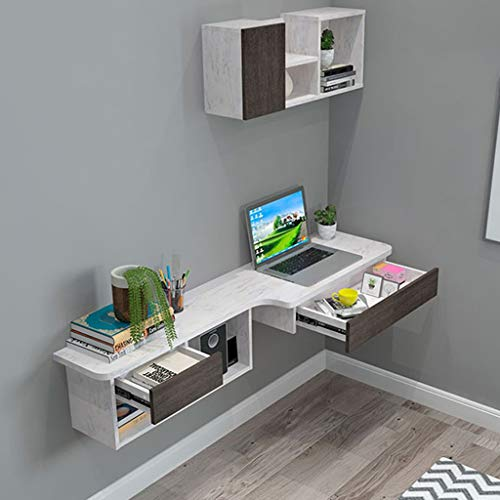 Floating Shelf Wall-Mounted Computer Desk Wall Multipurpose Laptop Desk Portable L-Shaped Corner Table Home Office Workstation Study Writing Table Notebook Table with Drawers and Open Storage Shelves