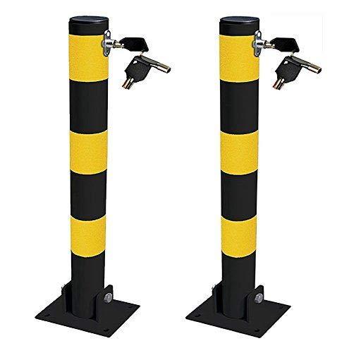 UKB4C 2x Round Heavy Duty Folding Bolt Down Security Parking Post Bollard Entrance Driveway With Lock /& Bolts