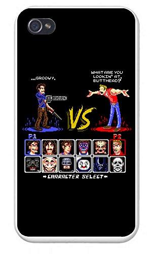 Apple Iphone Custom Case 4 4S White Plastic Snap On   Super 80S Good Vs  Evil 2   Parody Design
