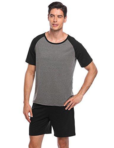 Ekouaer Mens Raglan Cotton Short-Sleeve Top Shorts Pajama Sets Super Soft Sleepwear Lounge Set