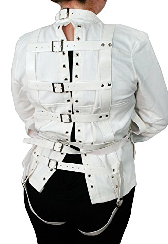 Unisex White Canvas Straight Jacket Costume