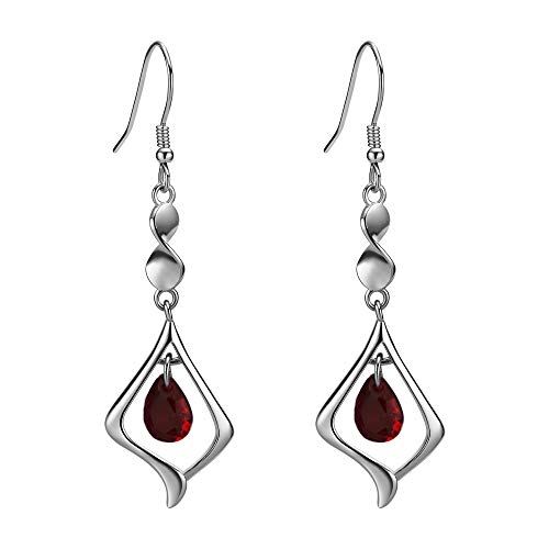 - Purple Gemstone Gold Plate 925 Sterling Silver Drop Earrings for women (red)