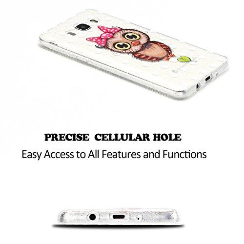 Funda para Samsung Galaxy J5 2016 5.2 Suave Transparente Delgado Gel Silicona TPU Case para Galaxy J5 2016 SM-J510FN E-Lush Cristal Blanda Protectora Cover Caja [Flash point] Claro Flexible Absorción Búho 1