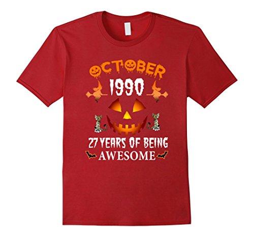 1990's Halloween Costume Idea (Mens October 1990 - 27th Birthday Funny Halloween Tshirt Small Cranberry)